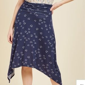 Modcloth Asymmetrical Skirt in Navy Cats